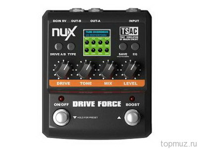 Эмулятор педалей over drive и distortion NUX DRIVE FORCE