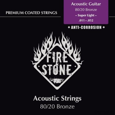 Струны для акустической гитары FIRE&STONE Strings For Acoustic Guitar Set 80/20 Bronze Super light