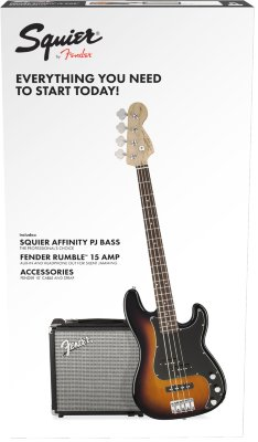 Squier Affinity Series™ Precision Bass® PJ Pack, Laurel Fingerboard, Brown Sunburst, Gig Bag, Rumble 15 - 230V EU Комплект: бас-