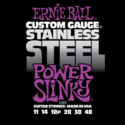 Ernie Ball 2245 Stainless Steel Power Slinky (11-14-18p-28-38-48) для электрогитары