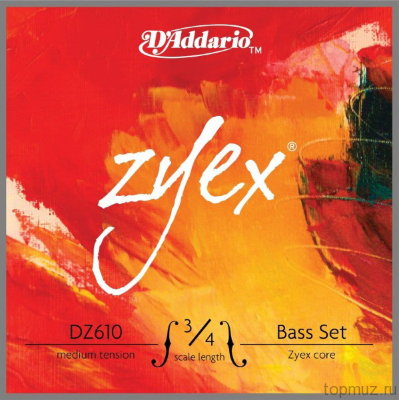 Струны для контрабаса 3/4 D'Addario DZ610 3/4M, ZYEX, medium