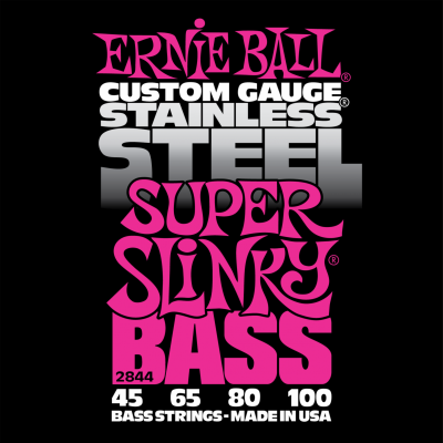 Ernie Ball 2844 Stainless Steel Bass Super Slinky (45-65-80-100) для бас-гитары